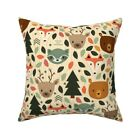 Woodland Animal Animals Land Ba Throw Pillow Cover w Optional Insert by Roostery