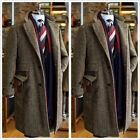 Men's Coat Long Brown Herringbone Three Button Blazer Business Groom Tailored