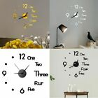 US Modern DIY Large Wall Clock 3D Mirror Surface Sticker Home Office Room Decor