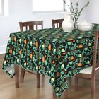 Tablecloth Retro Pie Orange And Teal Half Shapes Abstract Food Cotton Sateen
