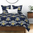 Navy Bumble Bee Insect Bug Bumblebee Yellow Sateen Duvet Cover by Roostery image
