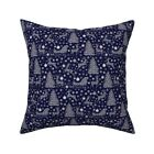 Vintage Navy Blue Christmas Throw Pillow Cover w Optional Insert by Roostery
