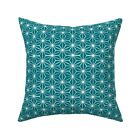 Star Tile In Teal Stars Throw Pillow Cover w Optional Insert by Roostery