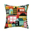 House Homes Bauhaus Colorful Throw Pillow Cover w Optional Insert by Roostery