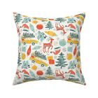 Christmas Winter Holiday Retro Throw Pillow Cover w Optional Insert by Roostery