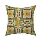 Spanish Tiles Golden Flowers Throw Pillow Cover w Optional Insert by Roostery