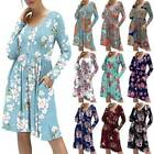 Women Boho Floral Printed Long Sleeve Tunic Tops Casual Loose Party Mini Dress