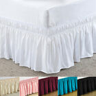 Elastic Bed Skirt Dust Ruffle Wrap Around Bedspread Covers Twin Full Queen King  image