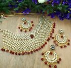 Indian Gold Plated Kundan Bridal Jewelry Necklace Set Bollywood Jewelry Earring