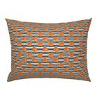 Pumpkin Stripes Fall Halloween Trendy Orange And Black Pillow Sham by Roostery image
