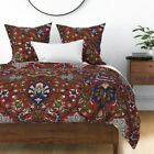 Damask Ottoman Turkish Persian Victorian Red Sateen Duvet Cover by Roostery image