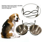 Cat With Hook Double Drinking Water Food Feeding Dishes Pet Bowl Stainless Steel