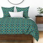 Traditional Spanish Tiles Islamic Persian Turkish Sateen Duvet Cover by Roostery image