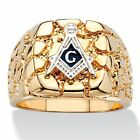Men's Nugget-Style 14k Yellow Gold-Plated Masonic Insignia Ring