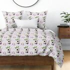Floral Flowers Boho Baby Girl Lilac Pink Nursery Sateen Duvet Cover by Roostery image