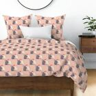 French Bulldogs Kissing Puppy Love Pink Dogs Sateen Duvet Cover by Roostery