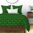 Peacock Feather Persian Green Texture Ornament Sateen Duvet Cover by Roostery image