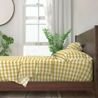 Gingham Check Tartan Plaid Mustard 100% Cotton Sateen Sheet Set by Roostery