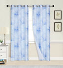 2 PANEL FAUX SILK GEOMETRIC THERMAL BLACKOUT GROMMET WINDOW LINED PANEL CURTAIN