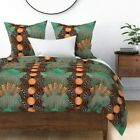Beer Art Deco Hops Bottle Caps Teal Copper And Sateen Duvet Cover by Roostery