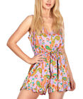 GO COCO Violet and Orange Paisley Bow Accent Romper NWT