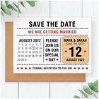 PERSONALISED Wooden Modern Save The Date Calendar Fridge Magnets Typography