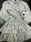 BNWT Bishop & Young Dom Mini Dress, Silver, Multiple Sizes