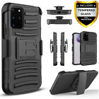 For Galaxy S20 Plus / Ultra Phone Case, Belt Clip Cover+Tempered Glass Protector
