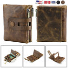 Mens Wallet Genuine Leather RFID Cards Bifold with Double Zipper Coin Pockets image
