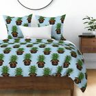 Tropical Pug Pineapple Fruit Dog Pet Kawaii Sateen Duvet Cover by Roostery