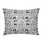 Black And White Cats Illustration Kitten Animals Cat Pillow Sham by Roostery
