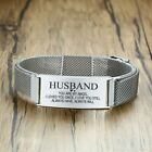 Vnox Length Adjustable Personalized TO MY HUSBAND Stainless Steel Mesh Bracelet