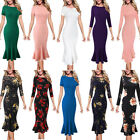 Womens Vintage Floral Print Lace Solid Cocktail Party Bodycon Mermaid Midi Dress