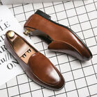 Mens Chic Formal Party British Slip On Leather Round Toe Casual Buesiness Shoes