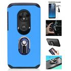 Tracfone Moto e5 (XT1920DL) Hard Cover Case + Ring/Kickstand/Built in Car Mount