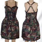 CAMOUFLAGE STRAPPY COTTON BASQUE DRESS BUCKLES  ALTERNATIVE GOTH