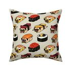 Sushi Pug Dog Breed Japanese Throw Pillow Cover w Optional Insert by Roostery