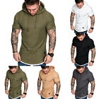 Mens Short Sleeve T-shirt Sports Fitness Summer Hooded Muscle Tee Hoodies Tops image