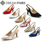 DREAM PAIRS Women's Pump Shoes Pointed Toe Stilettos Low Heel Slip On Pumps