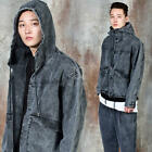 NewStylish Mens Washed denim hooded crop jacket