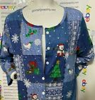 Snowman CHRISTMAS Patchwork CARDIGAN Style TEE T-Shirt WOMAN'S XL NWT IN PACKAGE