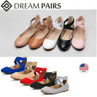 DREAM PAIRS Women's Ballerina Dance Shoes Ankle Strap Slip On Flat Casual Shoes