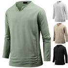 New Mens Stylish Solid V Neck Long Sleeve Tee T-shirt Tops Blouse E17 S/M/L/XL