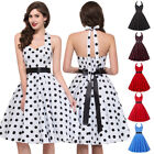 Womens 1950s 60s Vintage Halter Dress Prom Swing Evening Party Casual Dresses