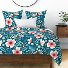Jumbo Floral Flowers Spring Blue Botanical Sateen Duvet Cover by Roostery image