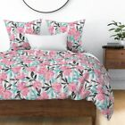 Floral Stripes Large Floral Watercolor Bloom Pink Sateen Duvet Cover by Roostery image