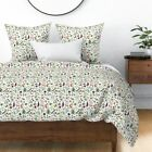Floral Painterly Garden Green Flowery Colorful Sateen Duvet Cover by Roostery image