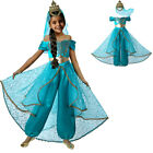 Kid Girls Jasmine Outfit Sets Aladdin Princess Clothing Party Fancy Dress 4-12Y