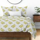 Bananas Watercolor Effect Kitchy Memphis Post Sateen Duvet Cover by Roostery image