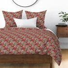 Sloth Floral Pink Flowers Animal Cute Unique Sateen Duvet Cover by Roostery